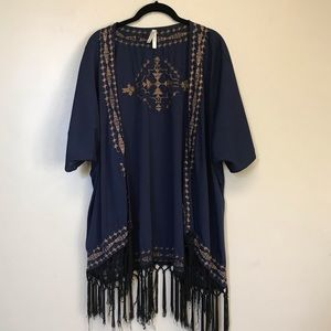 Blue & copper embroidered lightweight cardigan